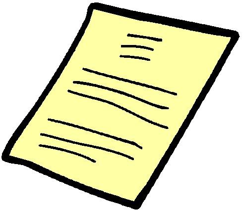 grafika żółtej zapisanej kartki
