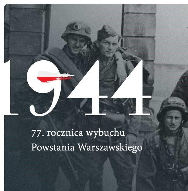 plakat przedstawiający 77 rocznicę powstania warszawskiego