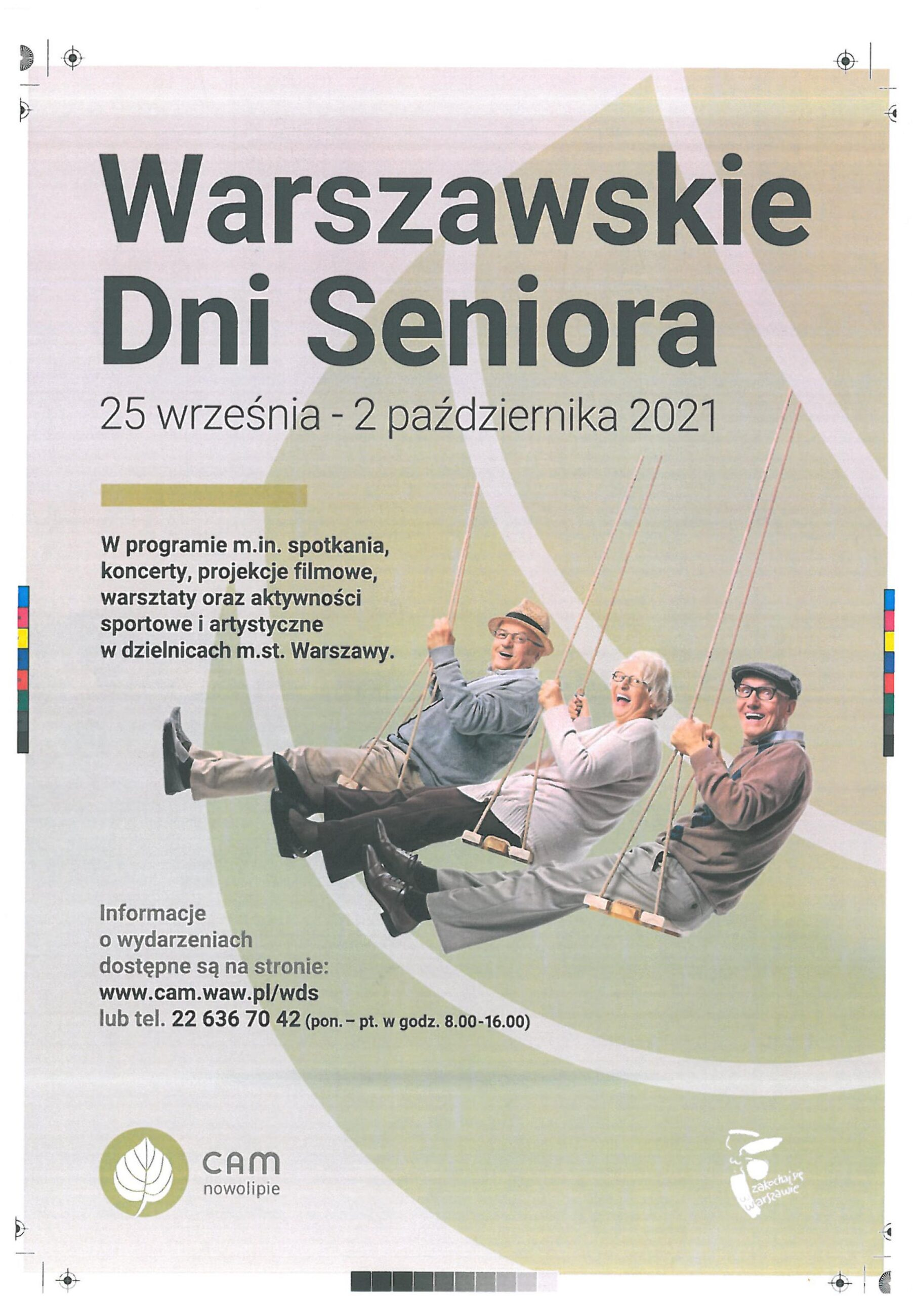 plakat promujący warszawskie dni seniora 2021r.
