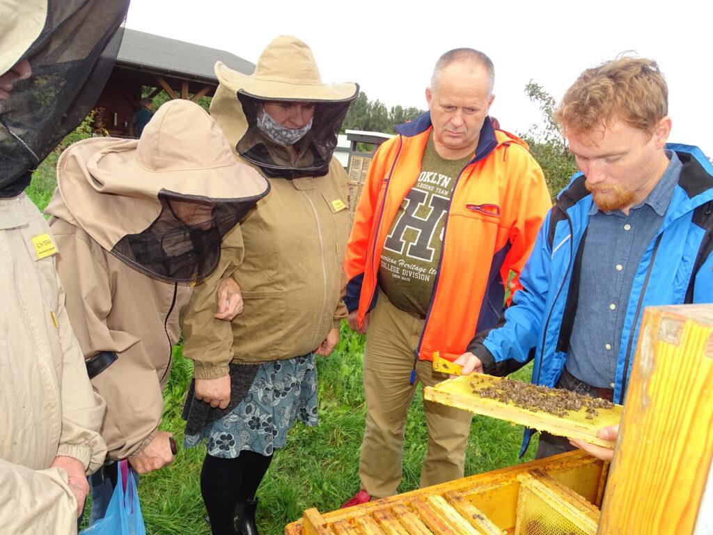 prszczelarz pokazuje ludziom ubranym w ochronne kombinezony i mężczyźnie w pomarańczowej kurtce budowe ula