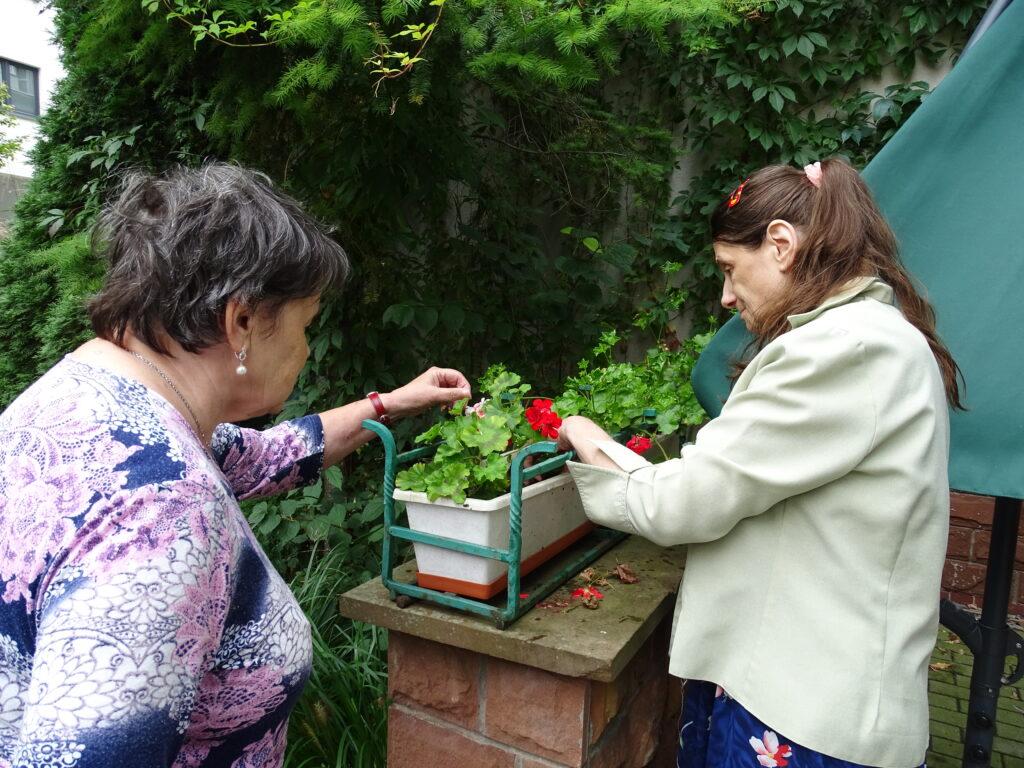 Dwie kobiety pielęgnują kwiaty